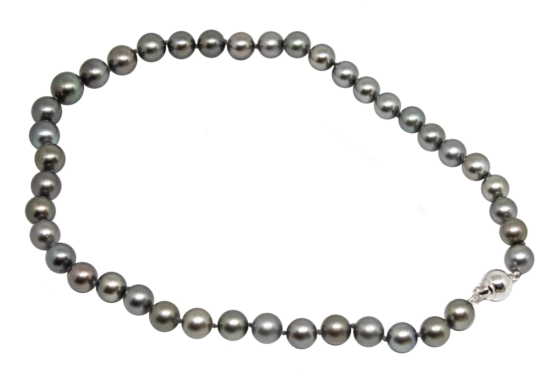 COLLIER35 COLLANA DONNA 41 PERLE TAHITI 2 1stAmerican jewerly collana in argento sterling con 41 perle tahiti Ø96x116mm con chiusura in