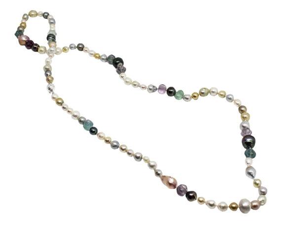 GEMSMU140419 COLLANA DONNA MULTICOLORE PERLE NATURALI DI TAHITI 5 1stAmerican jewerly collana multicolore perle naturali di tahiti + perle di fiume + pietre fluorite Ø7x14.5mm con chiusura in argento ag925