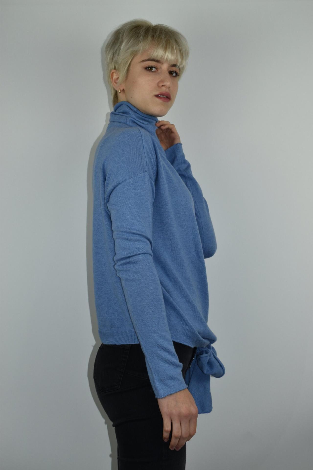 GIADA CELESTE MAGLIA DONNA CASHMERE SETA COLLO ALTO MANICA LUNGA 5 1stAmerican maglia dolcevita collo alto da donna in seta cashmere - maglione manica lunga invernale finezza 14