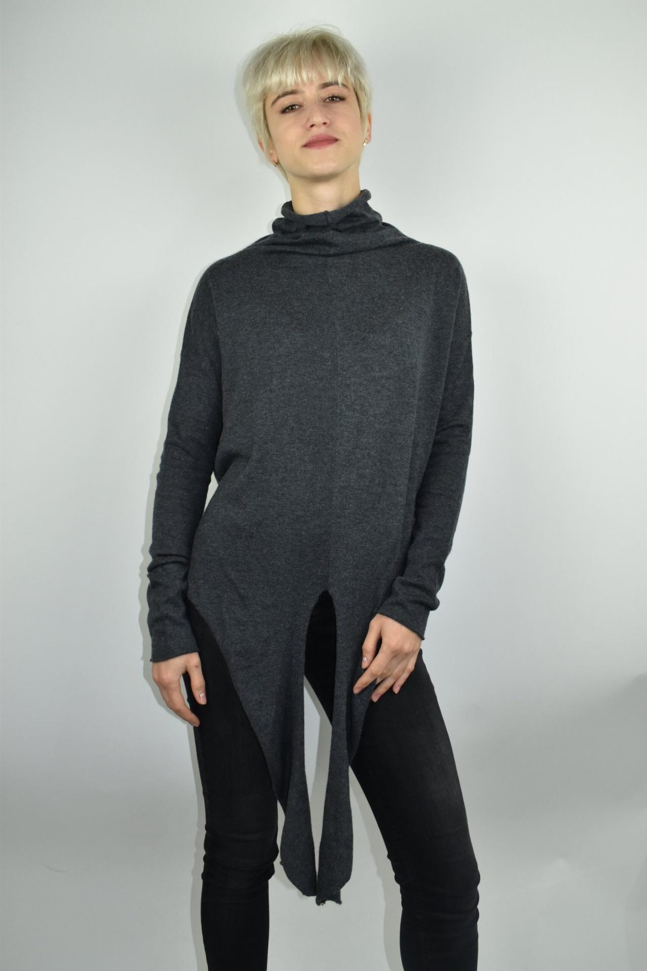 GIADA GRIGIO MAGLIA DONNA CASHMERE SETA COLLO ALTO MANICA LUNGA 3 1stAmerican maglia dolcevita collo alto da donna in seta cashmere - maglione manica lunga invernale finezza 14