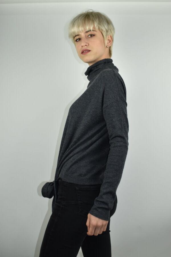 GIADA GRIGIO MAGLIA DONNA CASHMERE SETA COLLO ALTO MANICA LUNGA 4 1stAmerican maglia dolcevita collo alto da donna in seta cashmere - maglione manica lunga invernale finezza 14