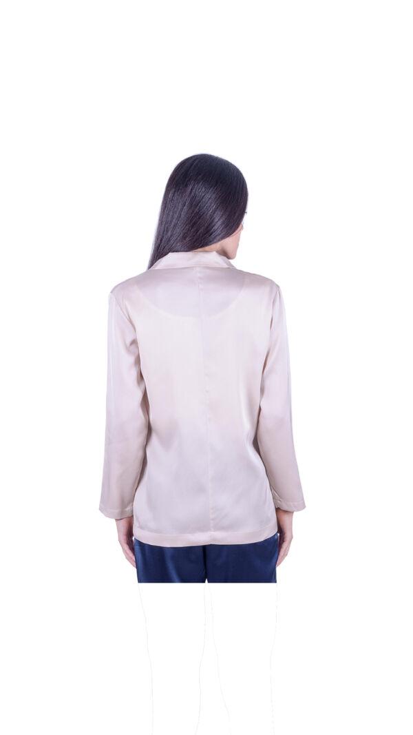 GIASILK01 BEIGE GIACCA DONNA MANICA LUNGA 1 1stAmerican giacca da donna 100% pura seta manica 3/4 - elegante camicia in seta da donna