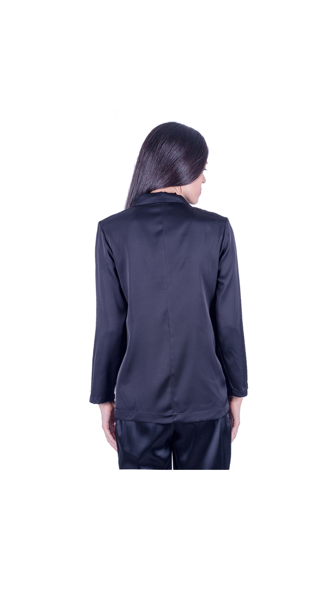 GIASILK01 NERO GIACCA DONNA MANICA LUNGA 1 1stAmerican giacca da donna 100% pura seta manica 3/4 - elegante camicia in seta da donna
