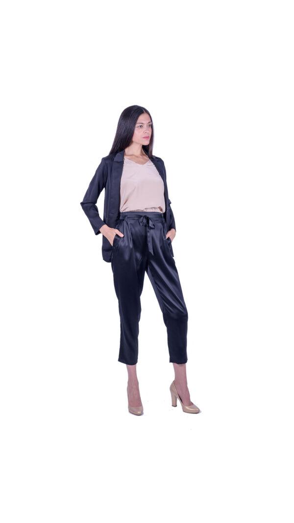 GIASILK01 NERO GIACCA DONNA MANICA LUNGA 2 1stAmerican giacca da donna 100% pura seta manica 3/4 - elegante camicia in seta da donna