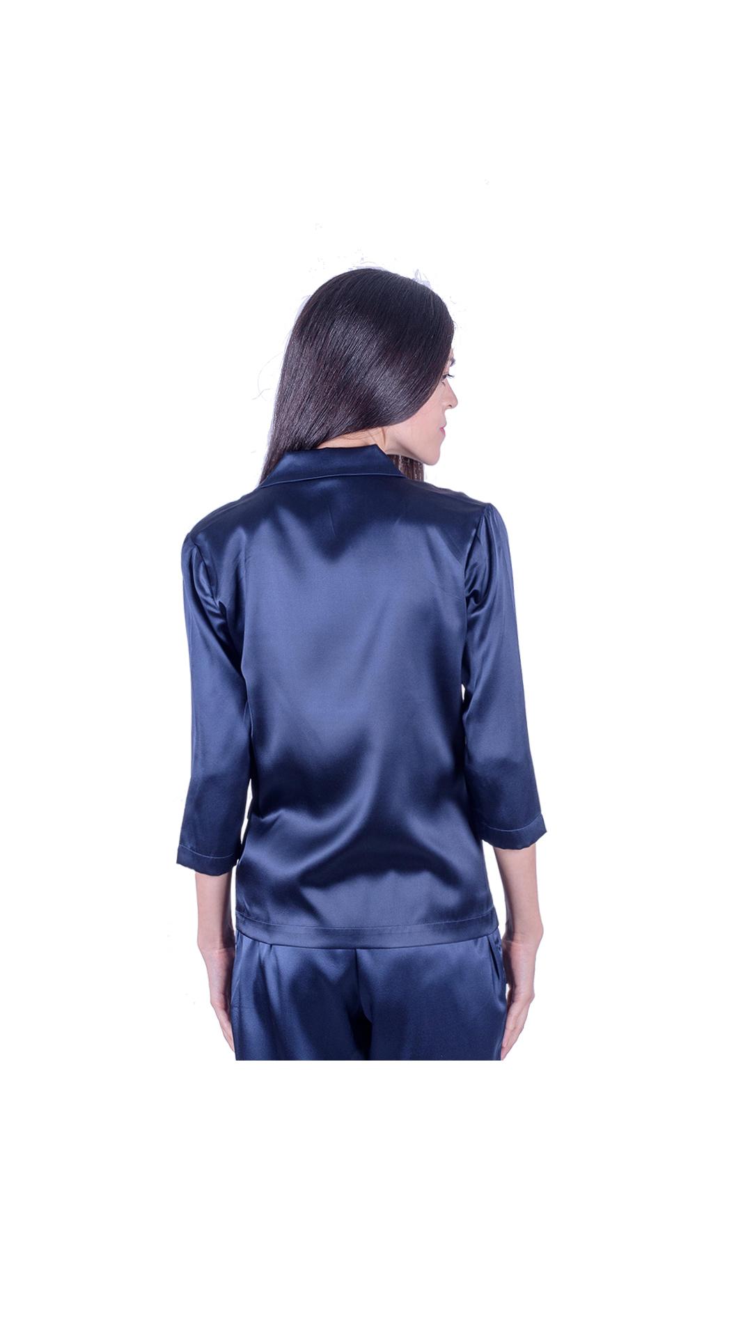 GIASILK02 BLU GIACCA DONNA MANICA LUNGA 1 1stAmerican giacca da donna 100% pura seta manica 3/4 - elegante camicia in seta da donna
