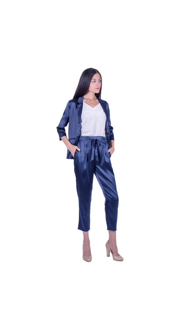 GIASILK02 BLU GIACCA DONNA MANICA LUNGA 2 1stAmerican giacca da donna 100% pura seta manica 3/4 - elegante camicia in seta da donna
