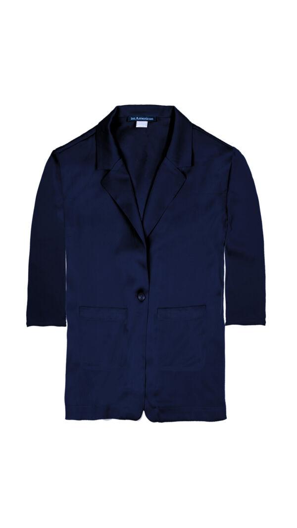 GIASILK02 BLU GIACCA DONNA MANICA LUNGA 3 1stAmerican giacca da donna 100% pura seta manica 3/4 - elegante camicia in seta da donna