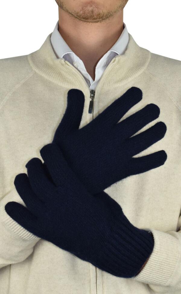 GLOVESMIXDARIO BLU GUANTI UOMO IN CASHMERE E LANA 1 1stAmerican guanti in lana e cashmere da uomo Made in Italy - caldi guanti invernali