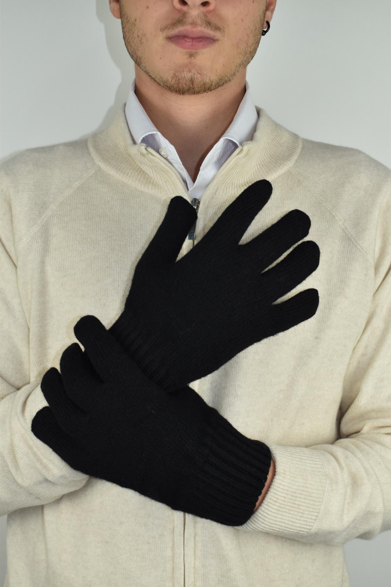 GLOVESMIXDARIO NERO GUANTI UOMO IN CASHMERE E LANA 1 1stAmerican guanti in lana e cashmere da uomo Made in Italy - caldi guanti invernali