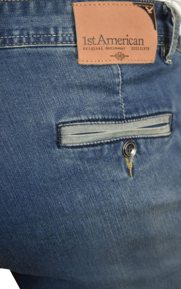 GLOW JEANS UOMO MODELLO CHINO BLU DENIM 4 1st american jeans modello chino uomo colore blu denim - 99% cotton 1% elastan denim 10oz