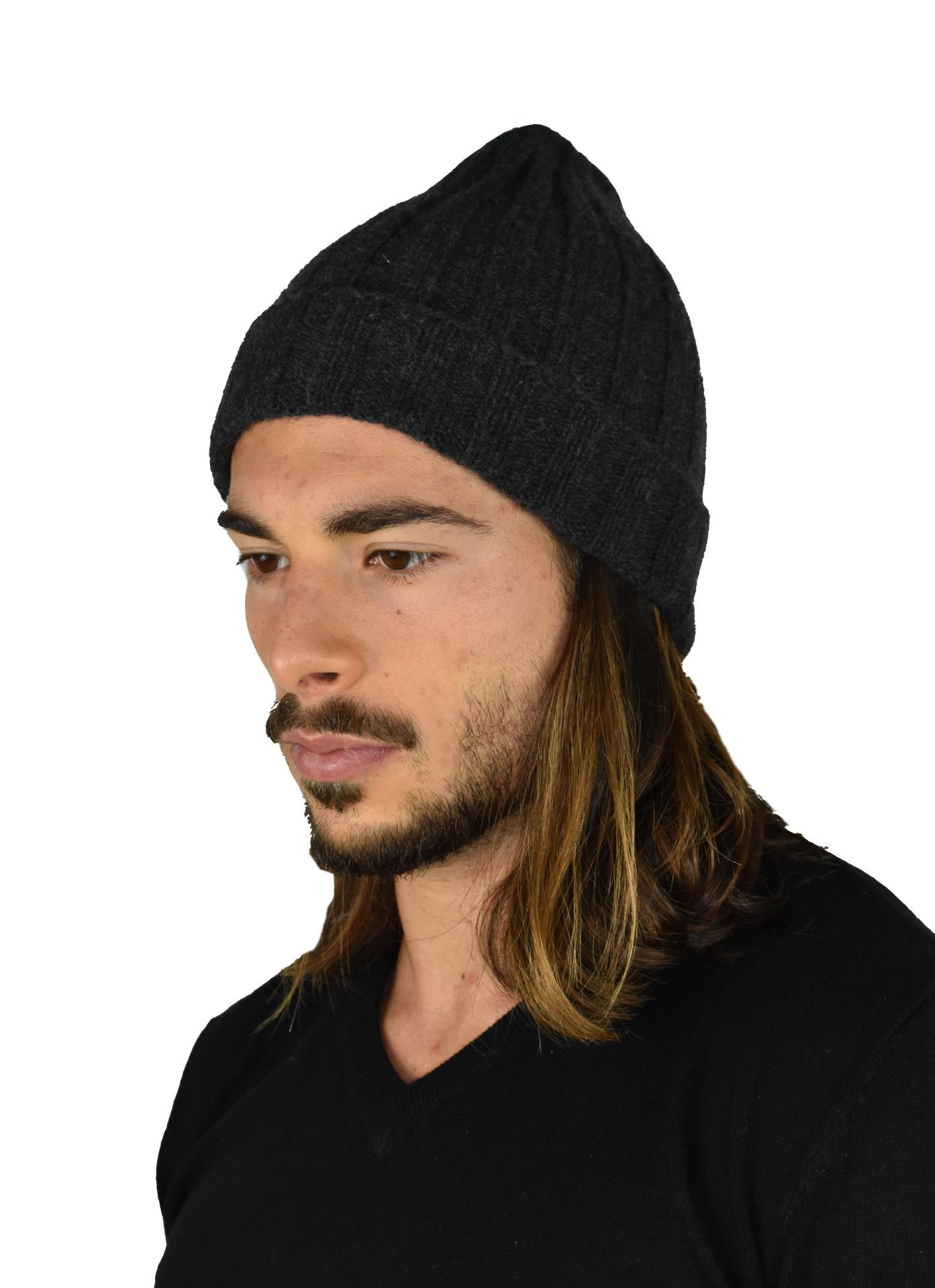 HENRYDARIO ANTRACITE CAPPELLINO UOMO 100 PURO CASHMERE 1 1stAmerican cappellino 100% puro cashmere Made in Italy da uomo - caldo berretto invernale a coste larghe