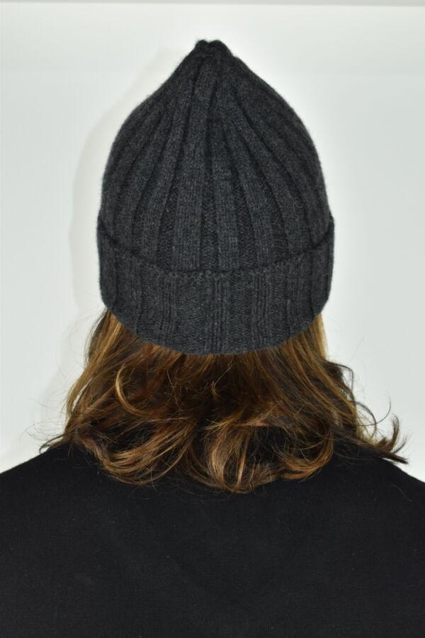 HENRYDARIO ANTRACITE CAPPELLINO UOMO 100 PURO CASHMERE 2 1stAmerican cappellino 100% puro cashmere Made in Italy da uomo - caldo berretto invernale a coste larghe