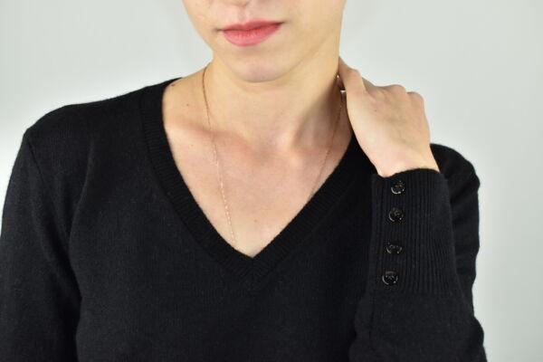HOPEMBA NERO MAGLIA DONNA 100 CASHMERE COLLO A V MANICA LUNGA 2 1stAmerican maglia 100% puro cashmere Made in Italy da donna collo a V con bottoni in madreperla sulla manica - finezza 12