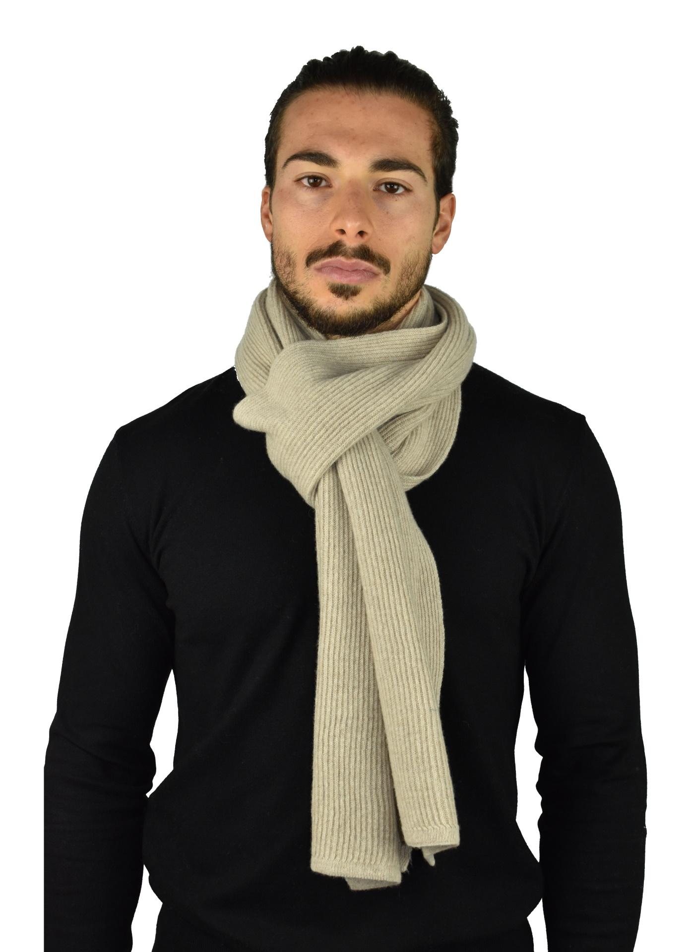 JURIDARIO BEIGE SCIARPA UOMO 100 PURO CASHMERE COSTE LARGHE 1 1stAmerican sciarpa da uomo 100% puro cashmere Made in Italy a coste larghe - calda sciarpa invernale
