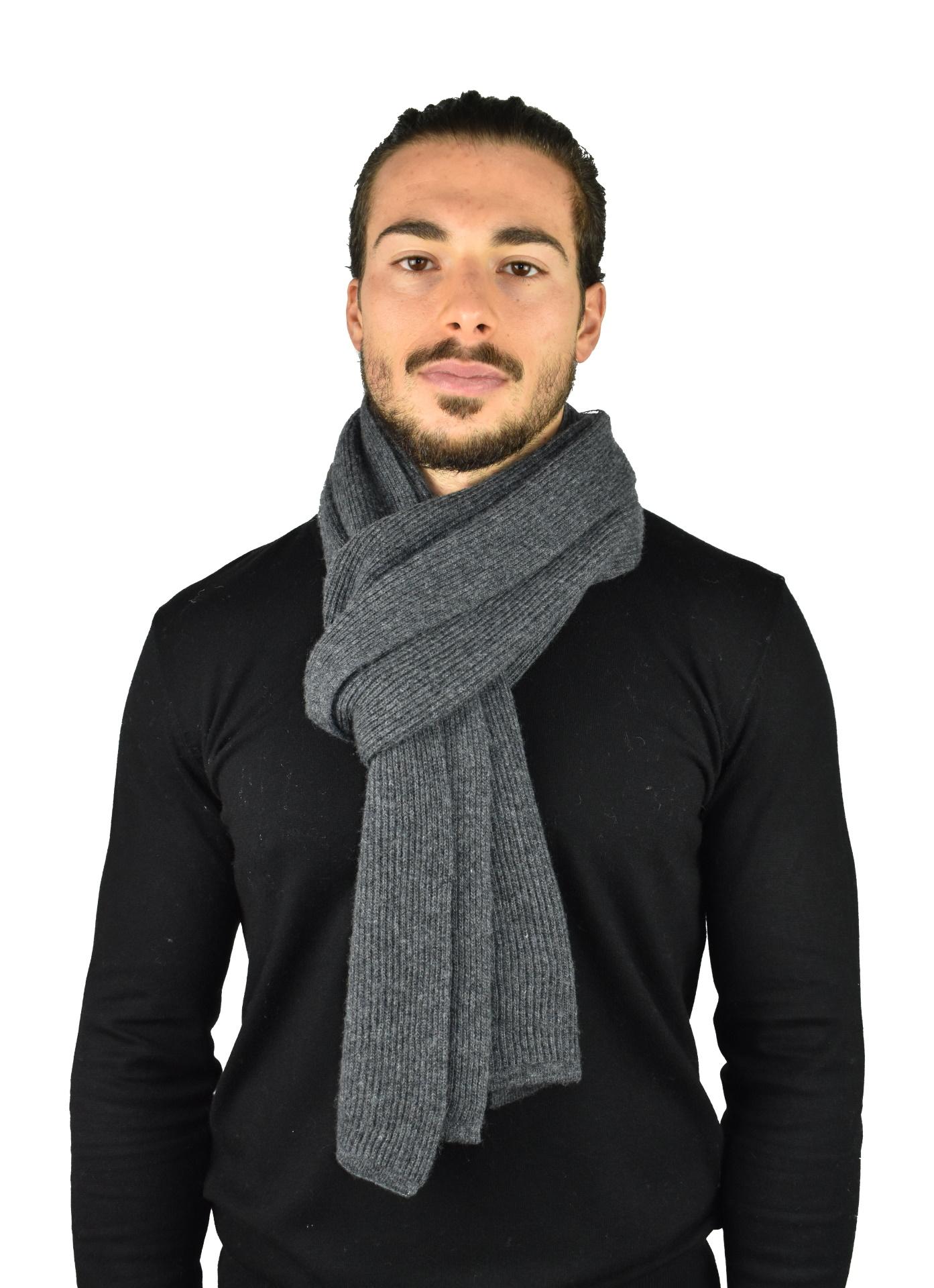 JURIDARIO GRIGIO SCIARPA UOMO 100 PURO CASHMERE COSTE LARGHE 1 1stAmerican sciarpa da uomo 100% puro cashmere Made in Italy a coste larghe - calda sciarpa invernale