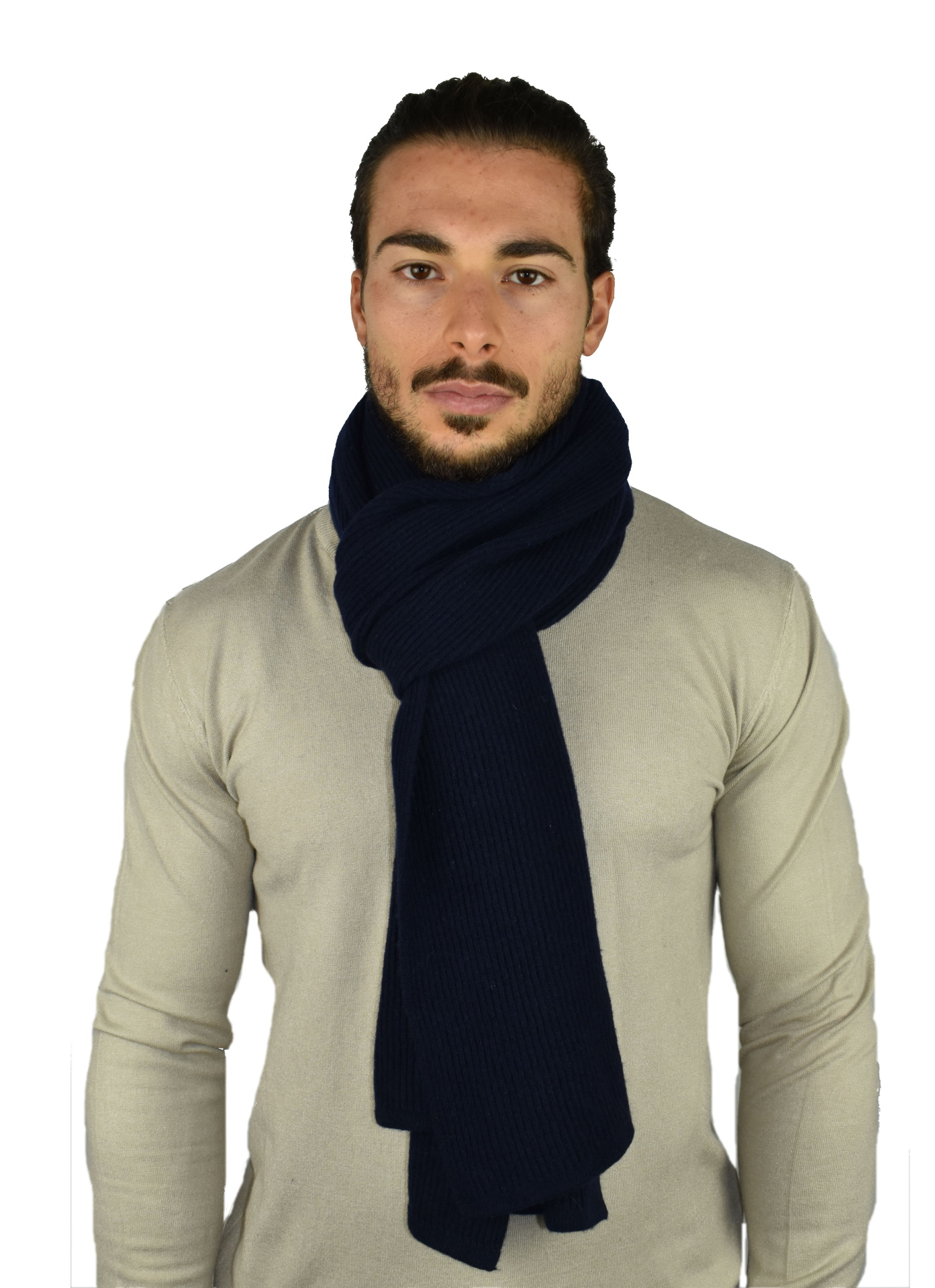 JURIDARIO NAVY SCIARPA UOMO 100 PURO CASHMERE COSTE LARGHE 1 1stAmerican sciarpa da uomo 100% puro cashmere Made in Italy a coste larghe - calda sciarpa invernale