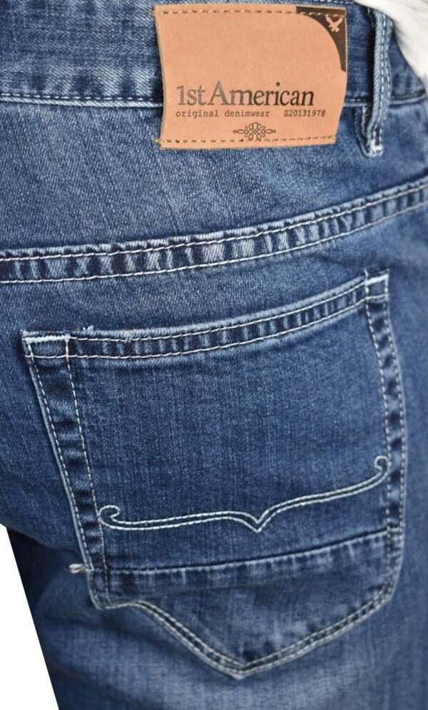 KIKI JEANS UOMO 5 TASCHE BLU MEDIO DENIM 4 1st american jeans fashion uomo 5 tasche colore blu medio denim - 99% cotton 1% elastan denim 1150 oz