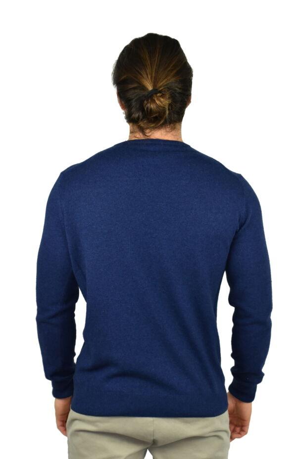 LAZZAROEMA BLU MAGLIA UOMO GIROCOLLO CASHMERE LANA MANICA LUNGA 1 1stAmerican maglia girocollo in lana e cashmere da uomo manica lunga - regular fit