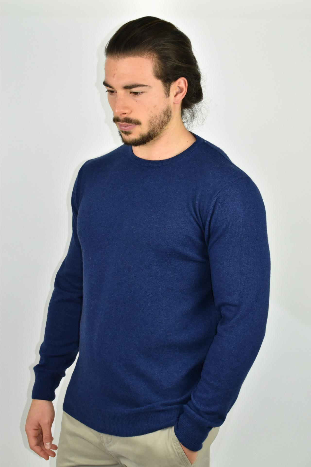 LAZZAROEMA BLU MAGLIA UOMO GIROCOLLO CASHMERE LANA MANICA LUNGA 3 1stAmerican maglia girocollo in lana e cashmere da uomo manica lunga - regular fit