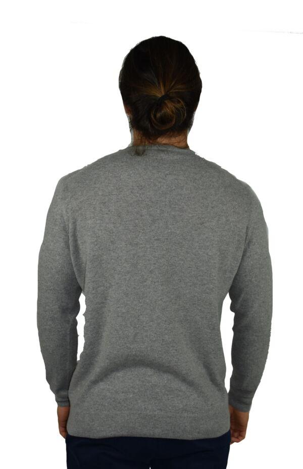 LAZZAROEMA GRIGIO CH MAGLIA UOMO GIROCOLLO CASHMERE LANA MANICA LUNGA 1 1stAmerican maglia girocollo in lana e cashmere da uomo manica lunga - regular fit