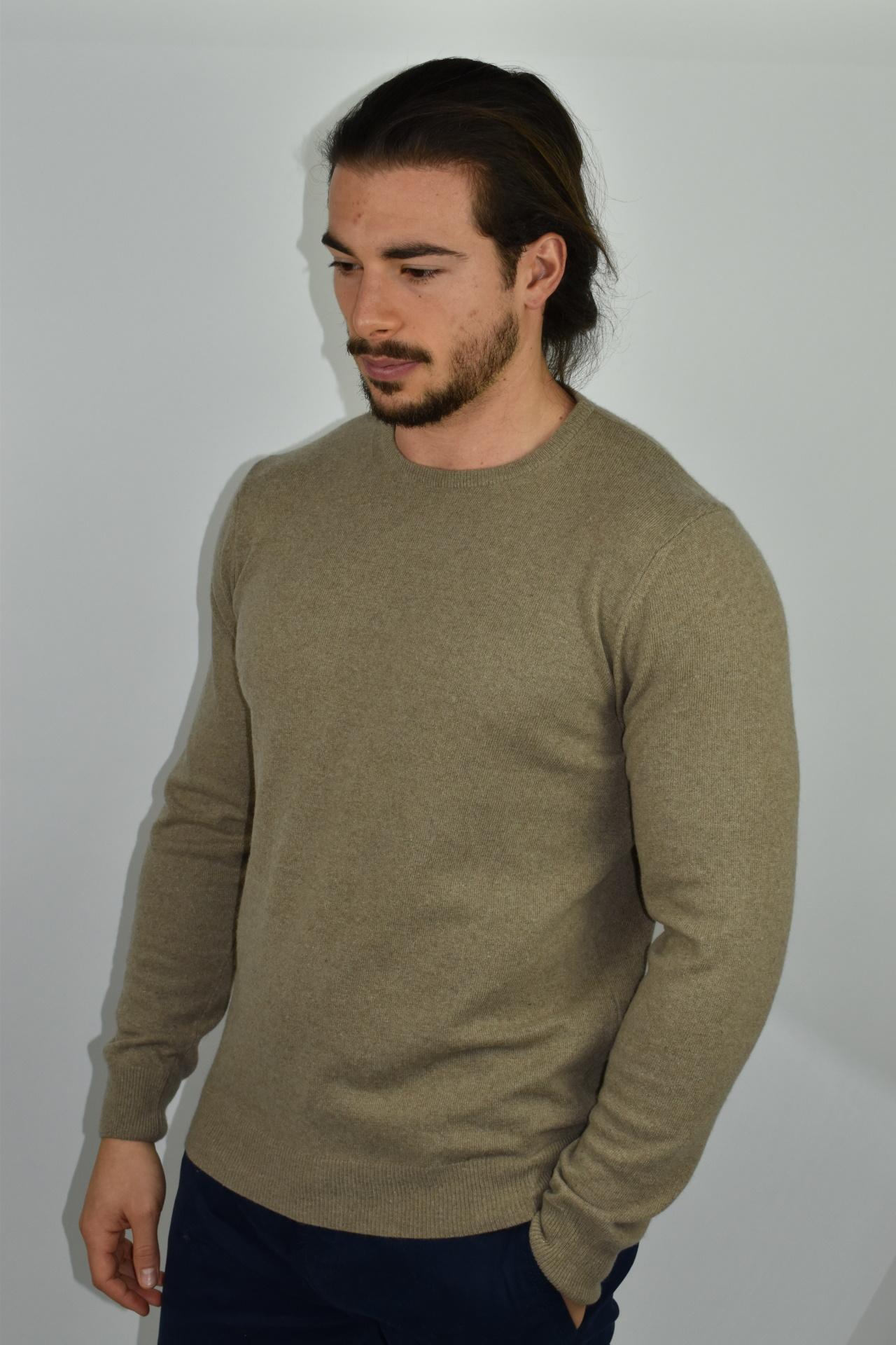 LAZZAROEMA TORTORA MAGLIA UOMO GIROCOLLO CASHMERE LANA MANICA LUNGA 3 1stAmerican maglia girocollo in lana e cashmere da uomo manica lunga - regular fit