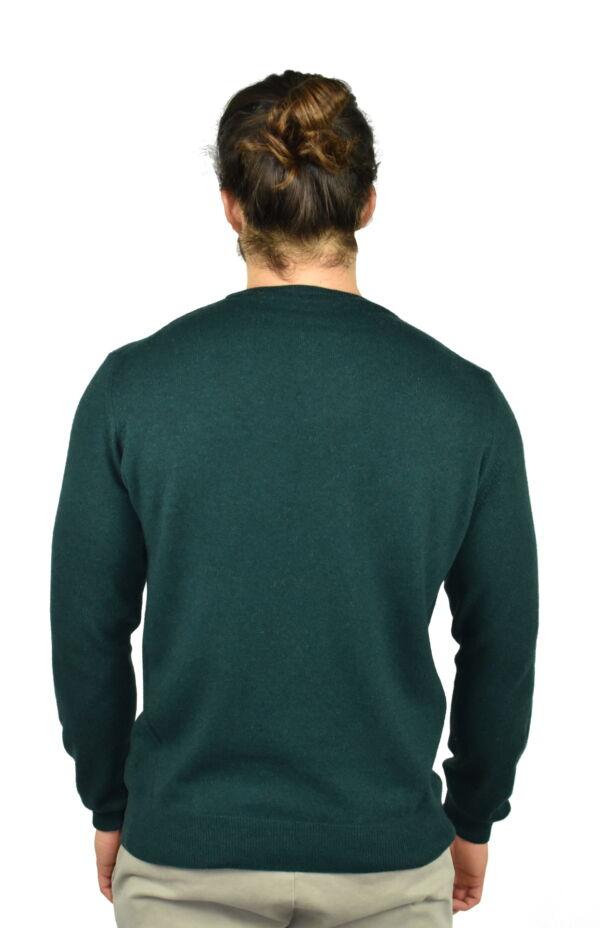 LAZZAROEMA VERDE MAGLIA UOMO GIROCOLLO CASHMERE LANA MANICA LUNGA 1 1stAmerican maglia girocollo in lana e cashmere da uomo manica lunga - regular fit