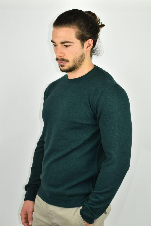 LAZZAROEMA VERDE MAGLIA UOMO GIROCOLLO CASHMERE LANA MANICA LUNGA 3 1stAmerican maglia girocollo in lana e cashmere da uomo manica lunga - regular fit
