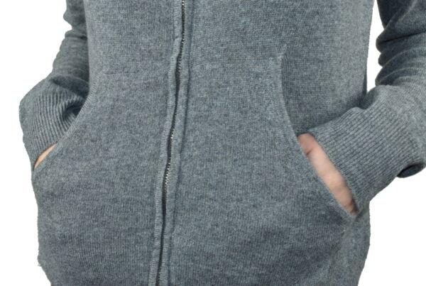 LILIMBA GRIGIO CARDIGAN DONNA CON CAPPUCCIO 100 CASHMERE MANICA LUNGA 3 1stAmerican cardigan con cappuccio 100% puro cashmere Made in Italy da donna con chiusura a zip - finezza 12