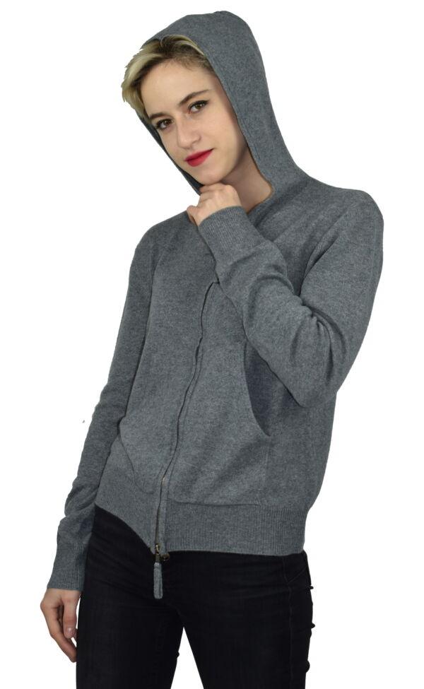 LILIMBA GRIGIO CARDIGAN DONNA CON CAPPUCCIO 100 CASHMERE MANICA LUNGA 4 1stAmerican cardigan con cappuccio 100% puro cashmere Made in Italy da donna con chiusura a zip - finezza 12