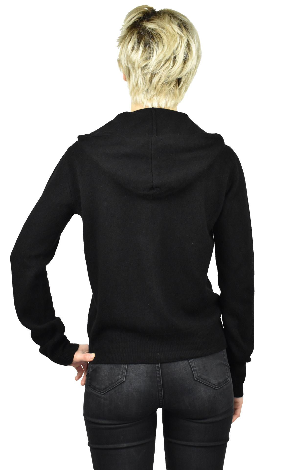 LILIMBA NERO CARDIGAN DONNA CON CAPPUCCIO 100 CASHMERE MANICA LUNGA 1 1stAmerican cardigan con cappuccio 100% puro cashmere Made in Italy da donna con chiusura a zip - finezza 12