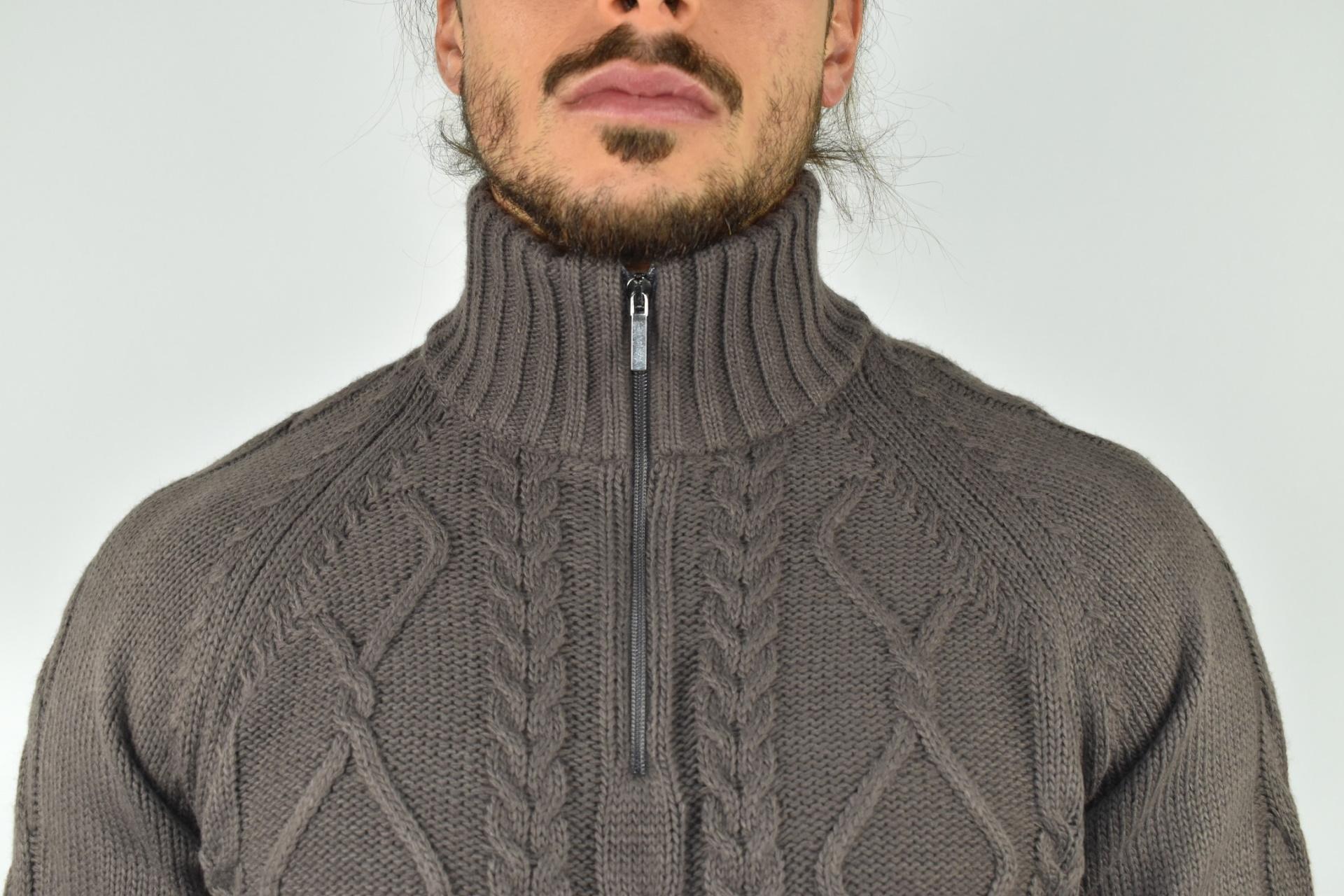 LUPINEMA CASTORO MAGLIA UOMO MEZZA ZIP MANICA LUNGA LAVORAZIONE TRECCE 2 1stAmerican maglione invernale da uomo mezza zip manica lunga lavorazione trecce