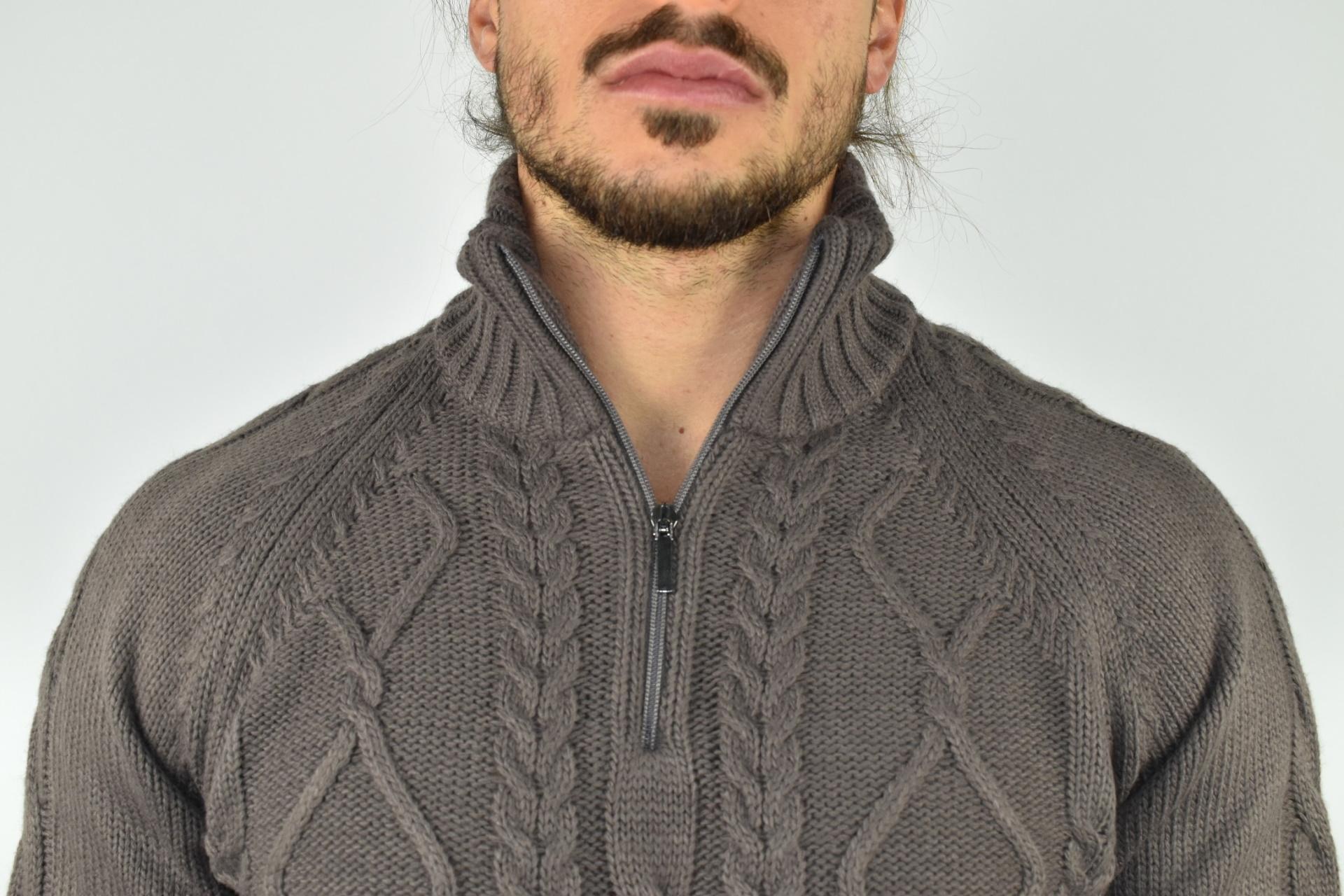 LUPINEMA CASTORO MAGLIA UOMO MEZZA ZIP MANICA LUNGA LAVORAZIONE TRECCE 3 1stAmerican maglione invernale da uomo mezza zip manica lunga lavorazione trecce
