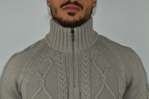 LUPINEMA FANGO MAGLIA UOMO MEZZA ZIP MANICA LUNGA LAVORAZIONE TRECCE 2 1stAmerican maglione invernale da uomo mezza zip manica lunga lavorazione trecce