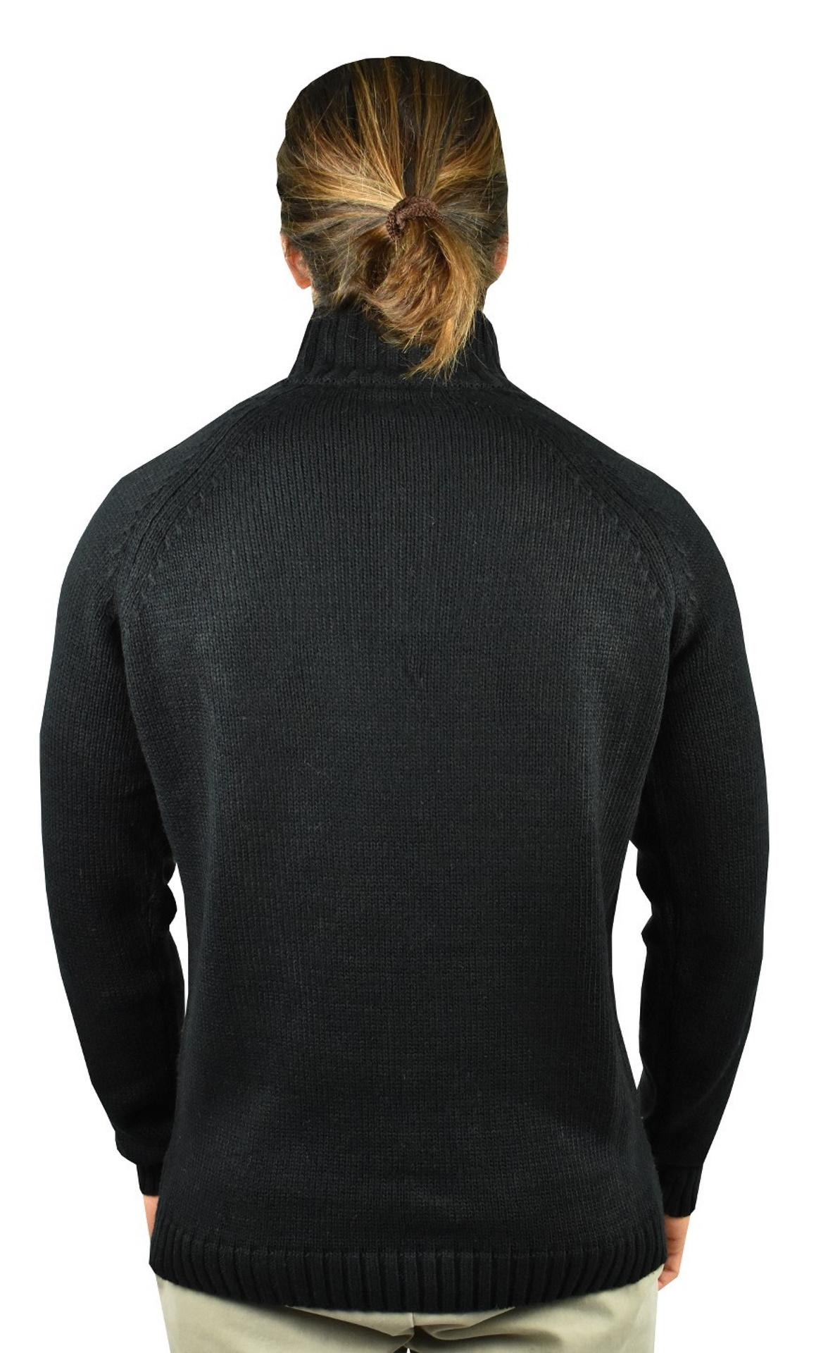 LUPINEMA NERO MAGLIA UOMO MEZZA ZIP MANICA LUNGA LAVORAZIONE TRECCE 1 1stAmerican maglione invernale da uomo mezza zip manica lunga lavorazione trecce
