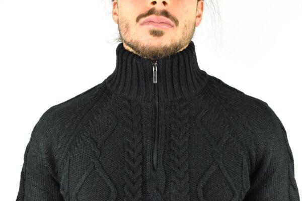 LUPINEMA NERO MAGLIA UOMO MEZZA ZIP MANICA LUNGA LAVORAZIONE TRECCE 2 1stAmerican maglione invernale da uomo mezza zip manica lunga lavorazione trecce