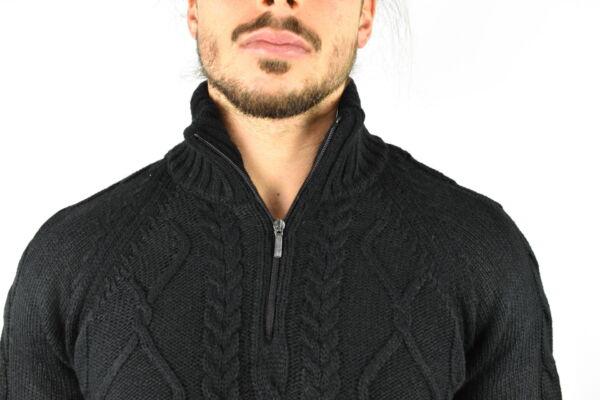 LUPINEMA NERO MAGLIA UOMO MEZZA ZIP MANICA LUNGA LAVORAZIONE TRECCE 3 1stAmerican maglione invernale da uomo mezza zip manica lunga lavorazione trecce