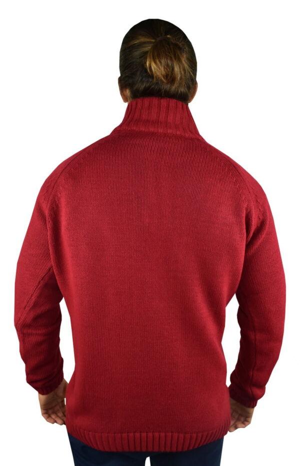 LUPINEMA ROSSO MAGLIA UOMO MEZZA ZIP MANICA LUNGA LAVORAZIONE TRECCE 1 1stAmerican maglione invernale da uomo mezza zip manica lunga lavorazione trecce