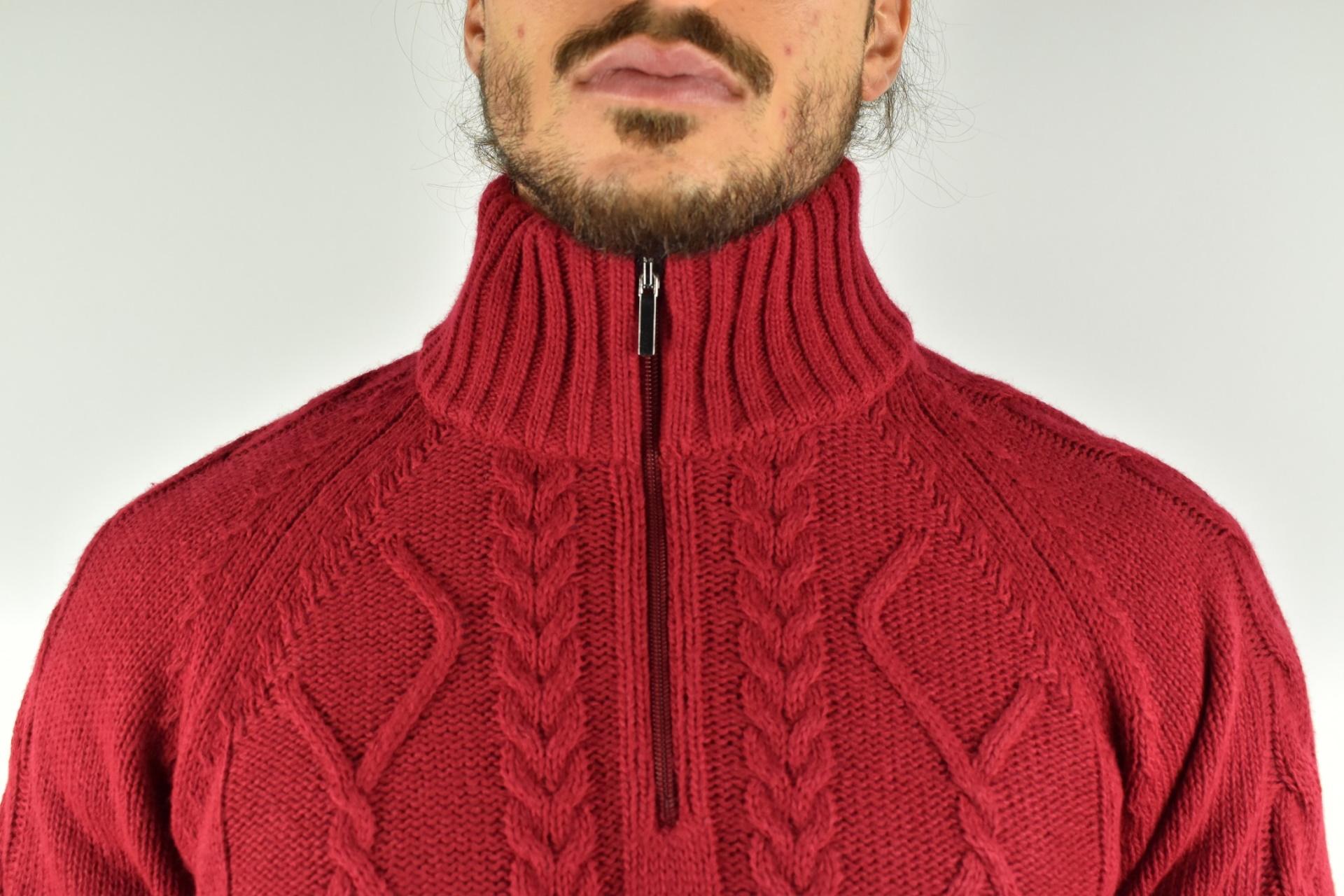 LUPINEMA ROSSO MAGLIA UOMO MEZZA ZIP MANICA LUNGA LAVORAZIONE TRECCE 2 1stAmerican maglione invernale da uomo mezza zip manica lunga lavorazione trecce