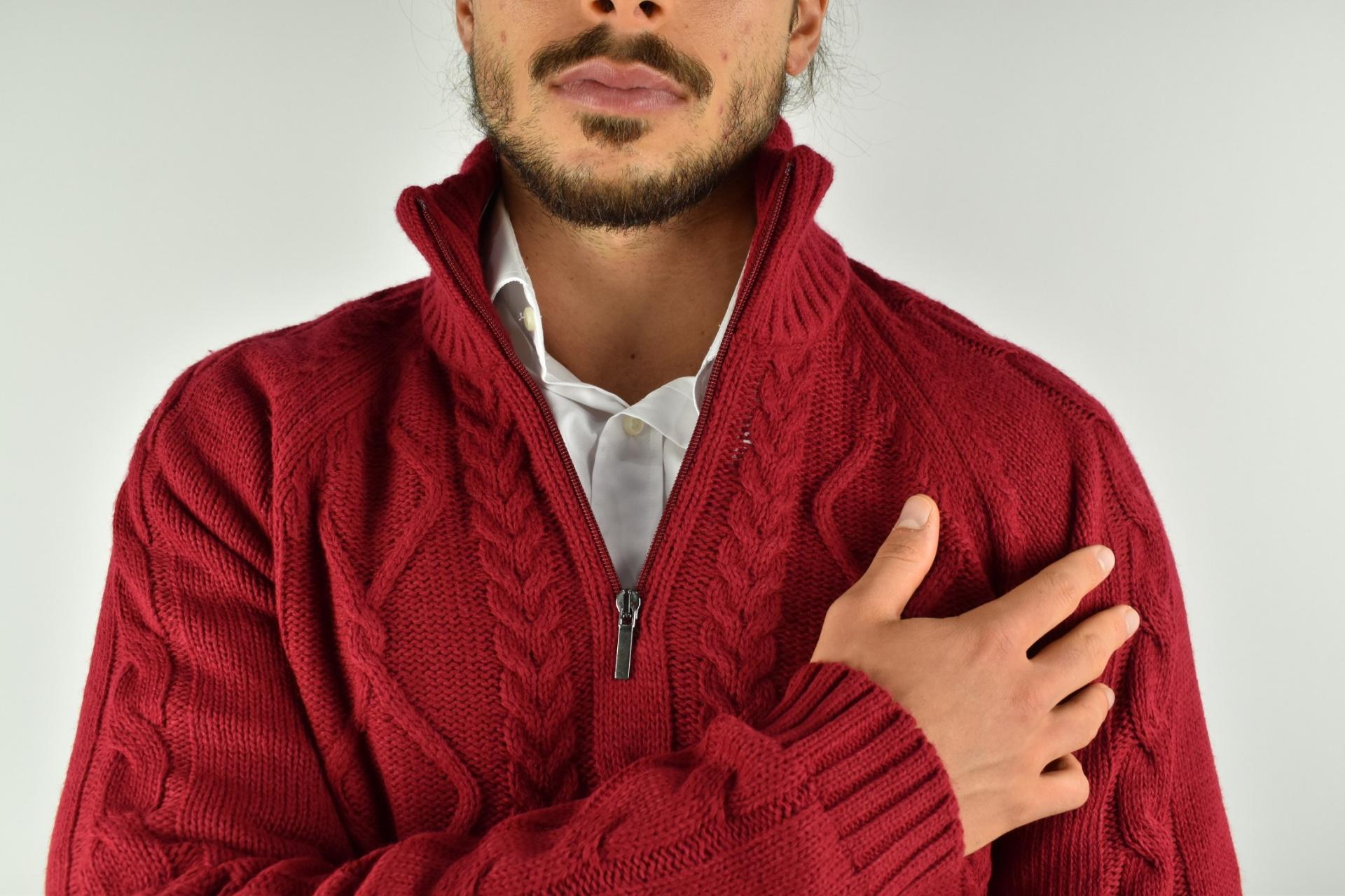 LUPINEMA ROSSO MAGLIA UOMO MEZZA ZIP MANICA LUNGA LAVORAZIONE TRECCE 3 1stAmerican maglione invernale da uomo mezza zip manica lunga lavorazione trecce