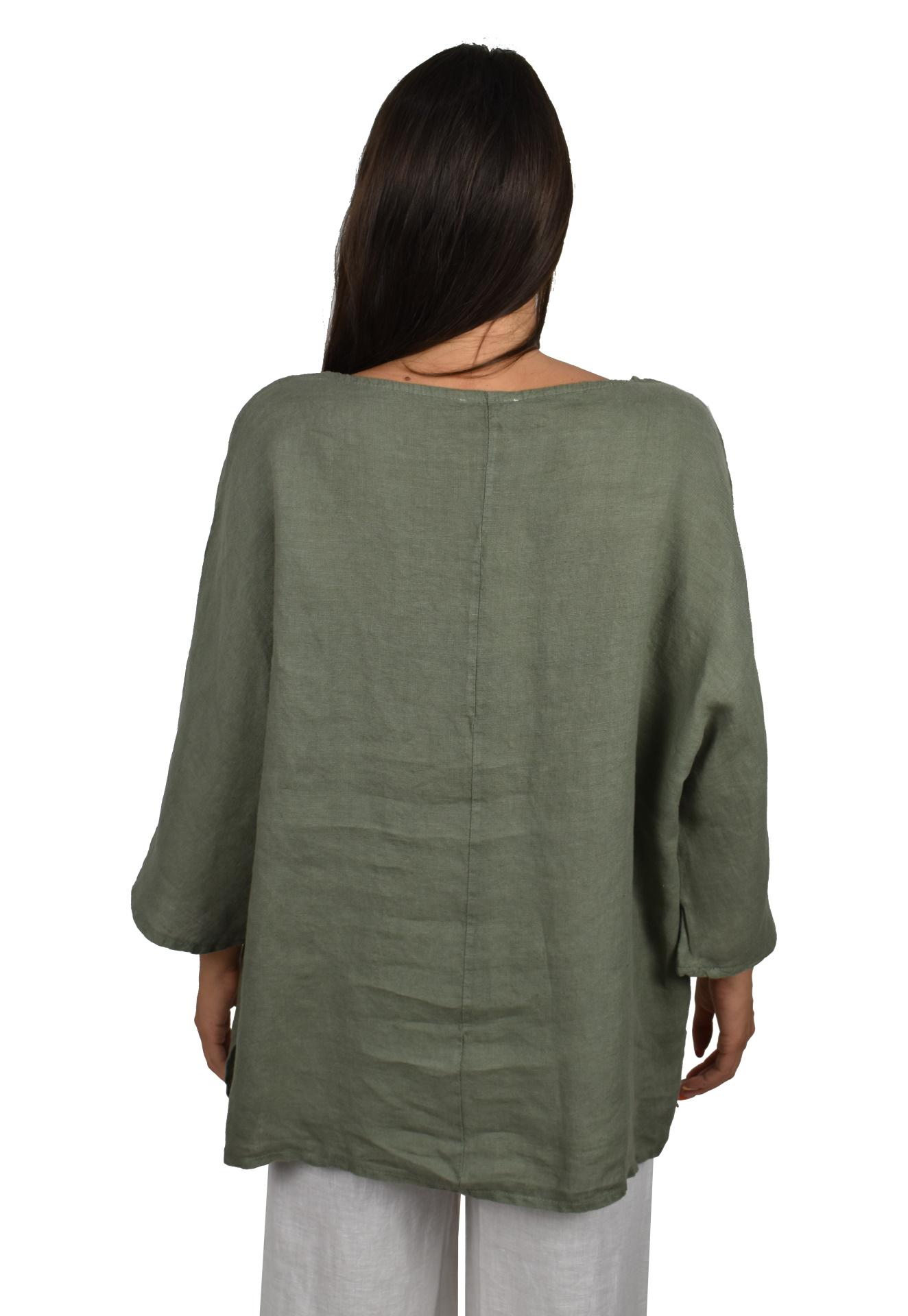 MAGMAXPE2101 ARMY MAGLIA DA DONNA GIROCOLLO CON MANICA A 34 100 LINO 1 1stAmerican maglia da donna girocollo con manica a 3/4 100% lino Made in Italy - t-shirt manica corta da donna mare in lino