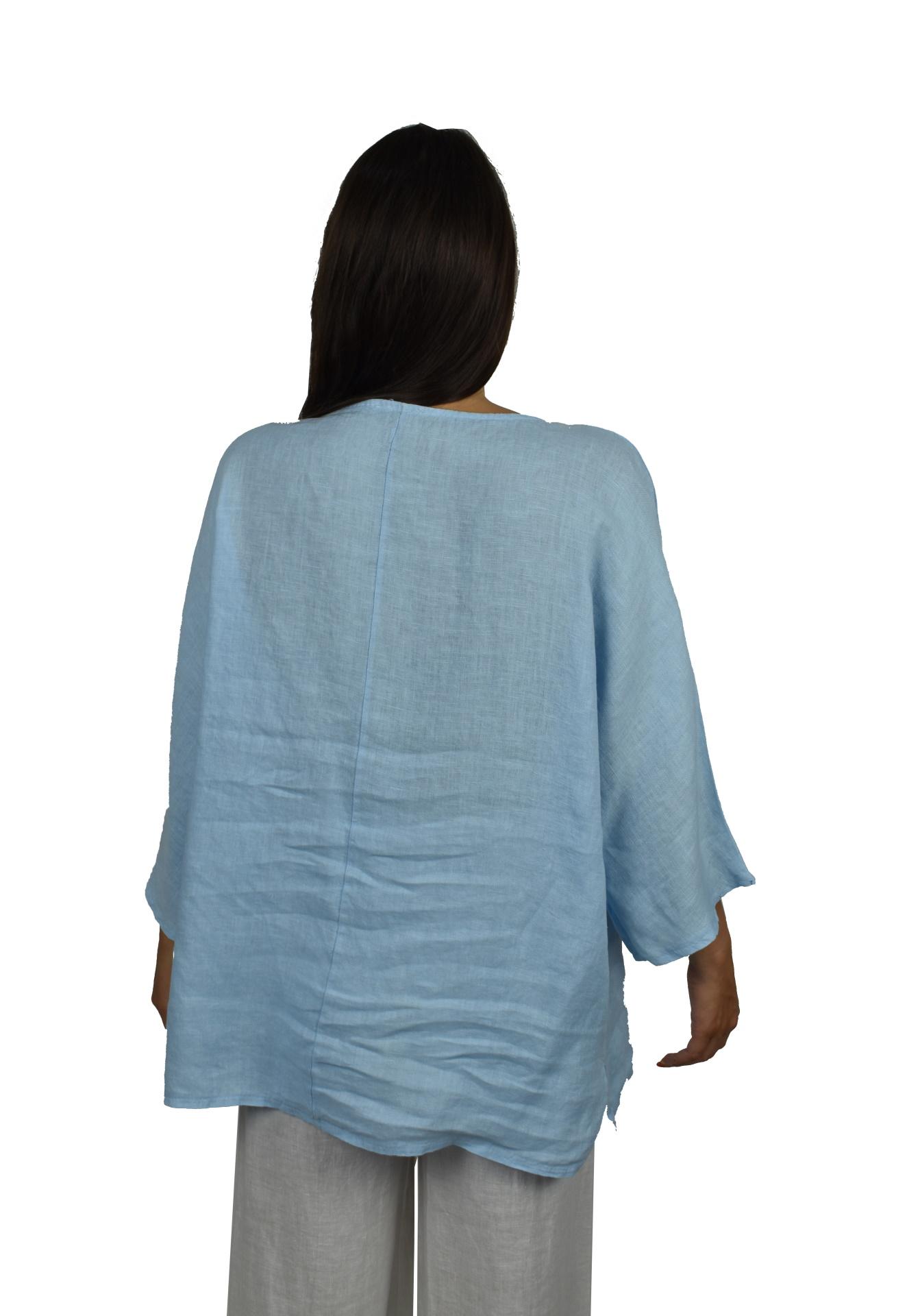 MAGMAXPE2101 AZZURRO MAGLIA DA DONNA GIROCOLLO CON MANICA A 34 100 LINO 1 1stAmerican maglia da donna girocollo con manica a 3/4 100% lino Made in Italy - t-shirt manica corta da donna mare in lino
