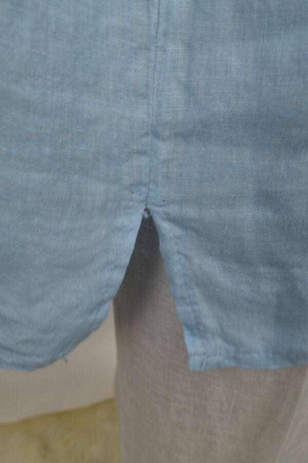 MAGMAXPE2101 AZZURRO MAGLIA DA DONNA GIROCOLLO CON MANICA A 34 100 LINO 3 1stAmerican maglia da donna girocollo con manica a 3/4 100% lino Made in Italy - t-shirt manica corta da donna mare in lino