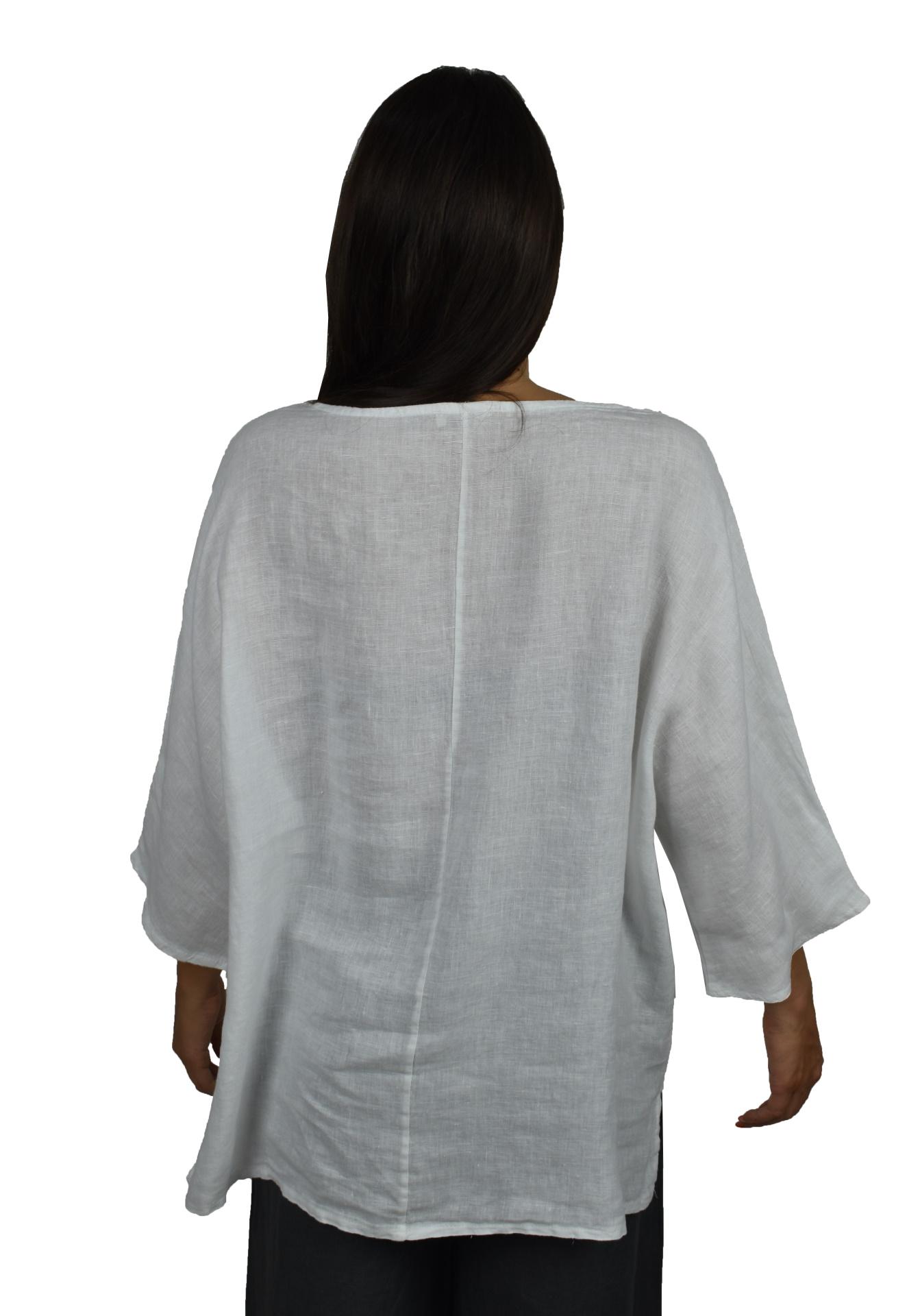 MAGMAXPE2101 BIANCO MAGLIA DA DONNA GIROCOLLO CON MANICA A 34 100 LINO 1 1stAmerican maglia da donna girocollo con manica a 3/4 100% lino Made in Italy - t-shirt manica corta da donna mare in lino