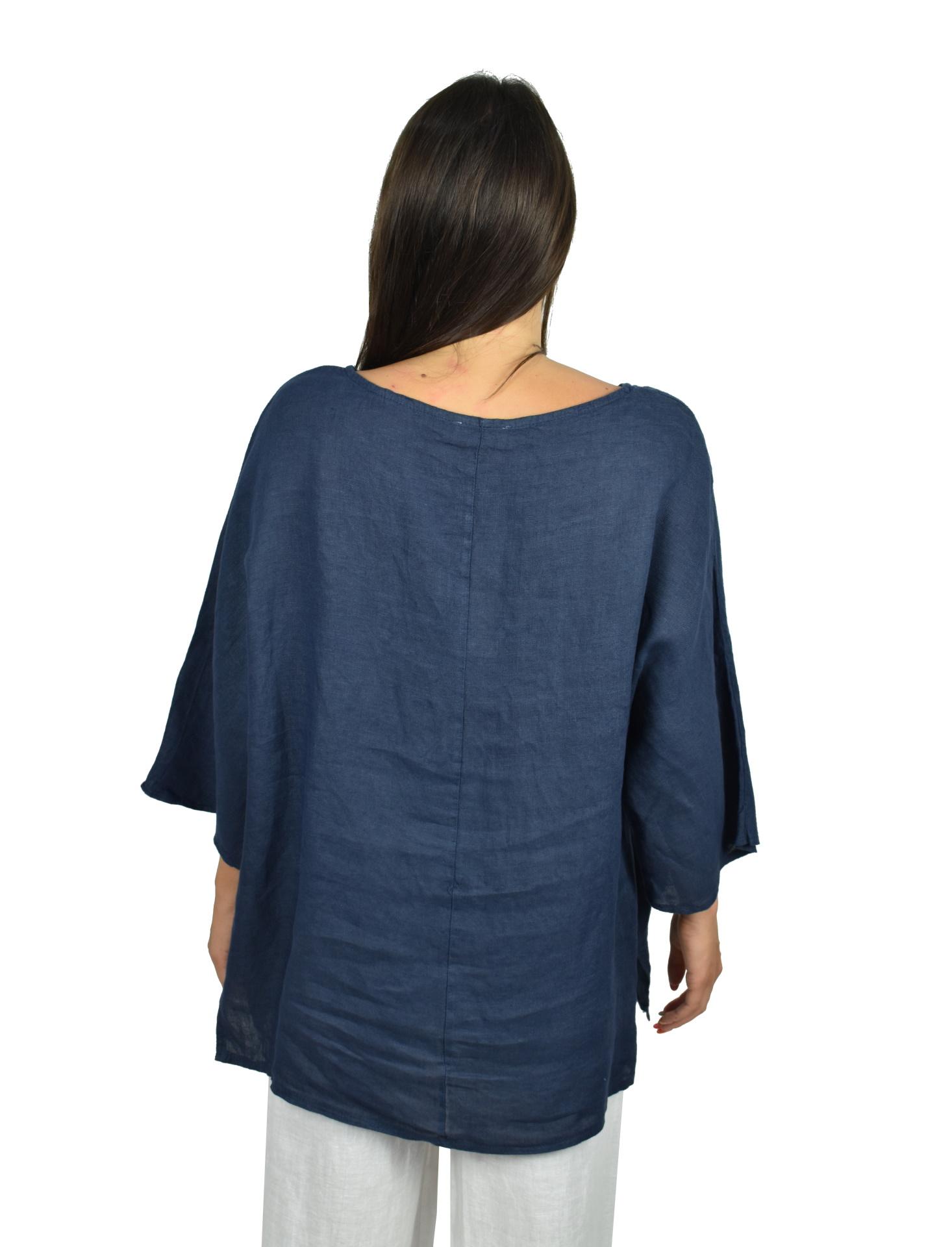 MAGMAXPE2101 BLU MAGLIA DA DONNA GIROCOLLO CON MANICA A 34 100 LINO 1 1stAmerican maglia da donna girocollo con manica a 3/4 100% lino Made in Italy - t-shirt manica corta da donna mare in lino
