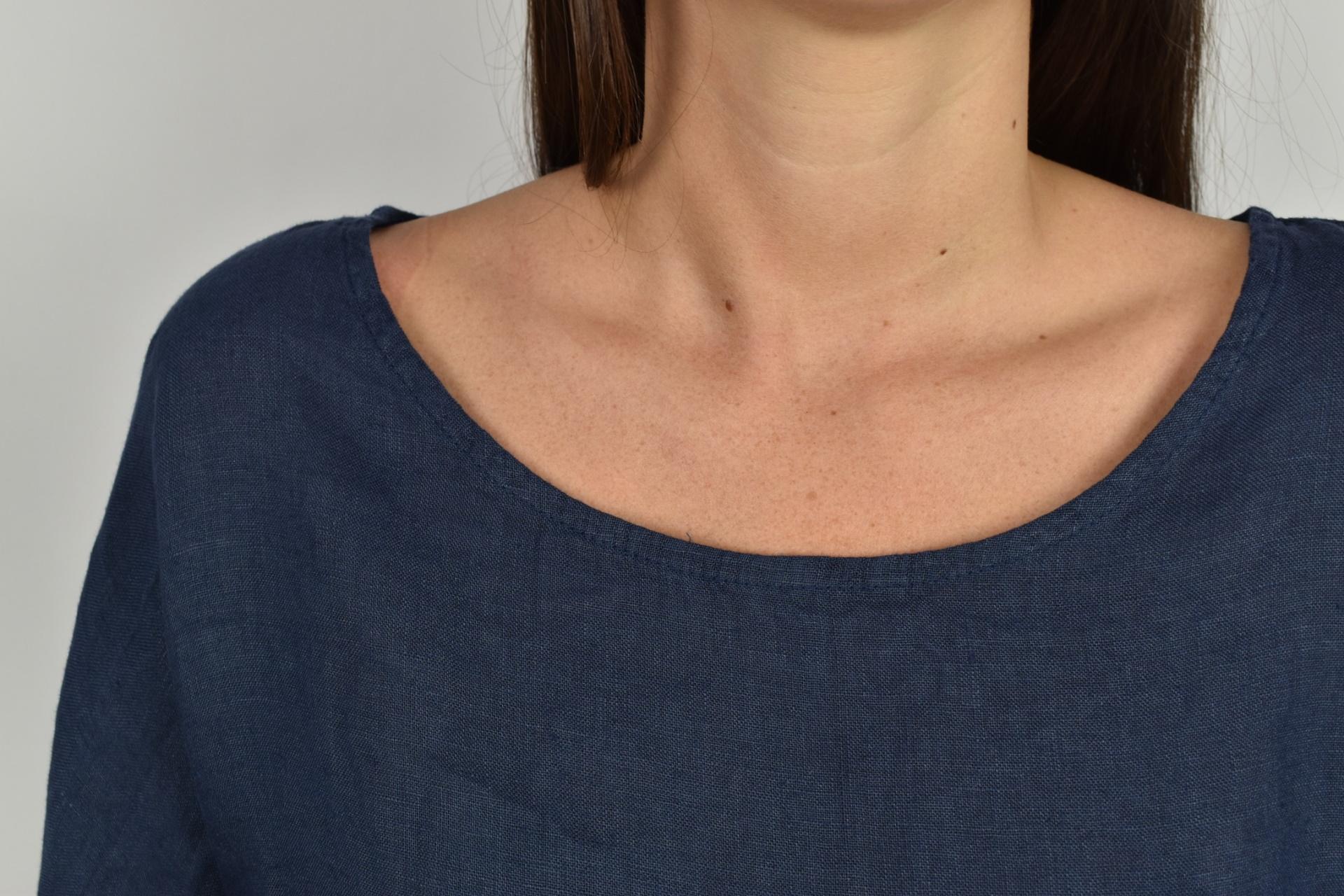 MAGMAXPE2101 BLU MAGLIA DA DONNA GIROCOLLO CON MANICA A 34 100 LINO 2 1stAmerican maglia da donna girocollo con manica a 3/4 100% lino Made in Italy - t-shirt manica corta da donna mare in lino