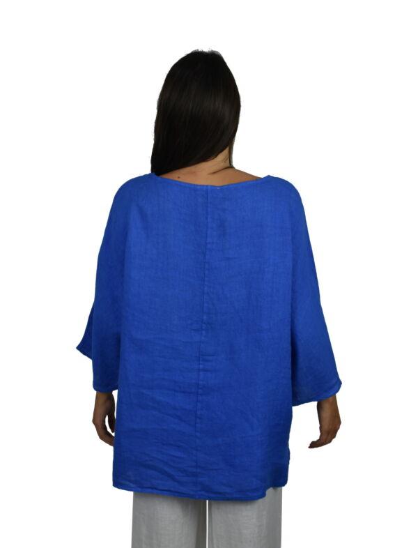 MAGMAXPE2101 BLUETTE MAGLIA DA DONNA GIROCOLLO CON MANICA A 34 100 LINO 1 1stAmerican maglia da donna girocollo con manica a 3/4 100% lino Made in Italy - t-shirt manica corta da donna mare in lino