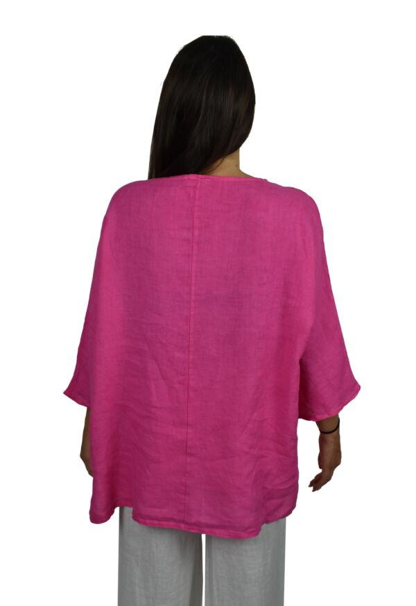 MAGMAXPE2101 FUCSIA MAGLIA DA DONNA GIROCOLLO CON MANICA A 34 100 LINO 1 1stAmerican maglia da donna girocollo con manica a 3/4 100% lino Made in Italy - t-shirt manica corta da donna mare in lino