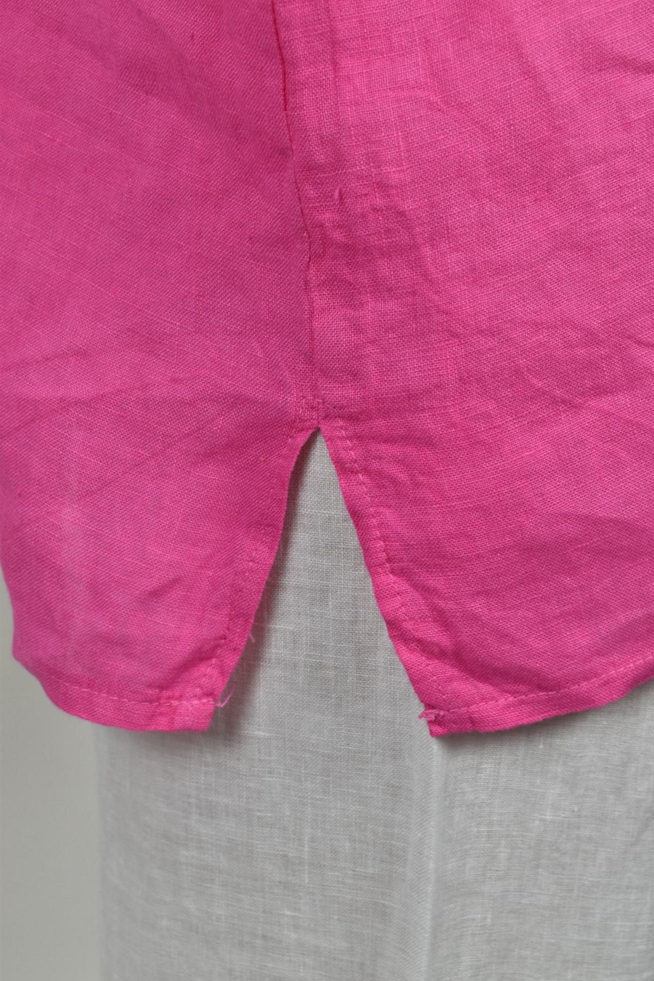 MAGMAXPE2101 FUCSIA MAGLIA DA DONNA GIROCOLLO CON MANICA A 34 100 LINO 3 1stAmerican maglia da donna girocollo con manica a 3/4 100% lino Made in Italy - t-shirt manica corta da donna mare in lino