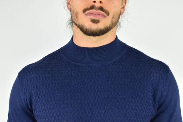 MATTEO NAVY MAGLIA UOMO CASHMERE SETA LUPETTO MANICA LUNGA 2 1stAmerican maglia lupetto in cashmere e seta da uomo manica lunga - pullover invernale girocollo finezza 14