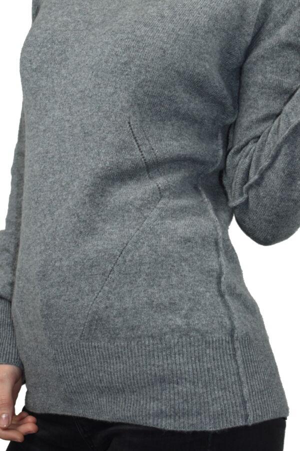MAVISMBA GRIGIO MAGLIA DONNA GIROCOLLO 100 CASHMERE MANICA LUNGA 4 1stAmerican maglia girocollo 100% puro cashmere Made in Italy da donna con lavorazione traforata - finezza 12